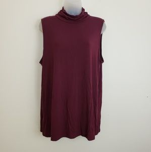 Alfani Maroon Sleeveless Mock Turtleneck Shirt